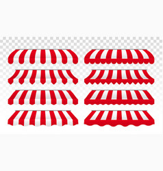 awning tents striped isolated set vector image