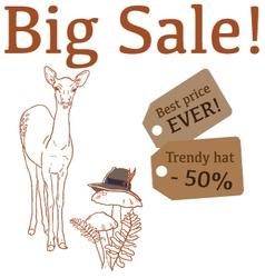 Big Sale with cute deer trendy hat vector image