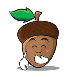 Blush acorn cartoon character style vector