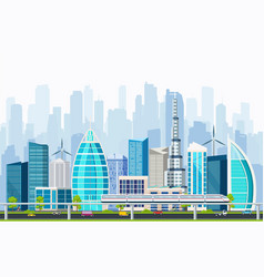 Business smart city with large modern buildings vector