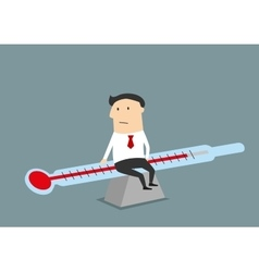Businessman balancing between illness and health vector