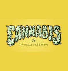 cannabis text smoke element vector image