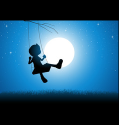 Cartoon silhouette of a boy playing on a swing vector