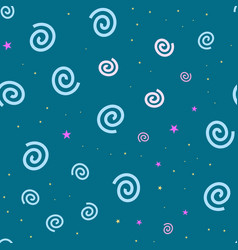 cartooned seamless pattern with stars and clouds vector image