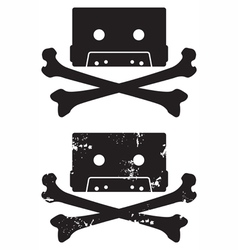 cassette skull icon vector image vector image