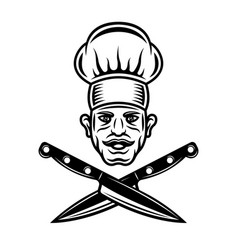 Chef head with mustache and crossed knives vector