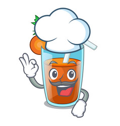 chef homemade carrot smoothie in cartoon glass vector image