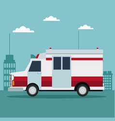 City landscape color background with ambulance vector