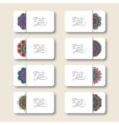 collection ornamental floral business cards vector image