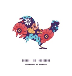 Colorful bouquet flowers rooster silhouette vector