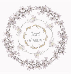 Colorful floral wreaths flower design vector