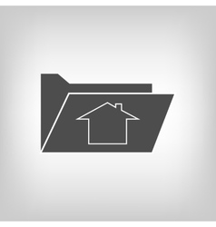 Computer folder with house sign vector image