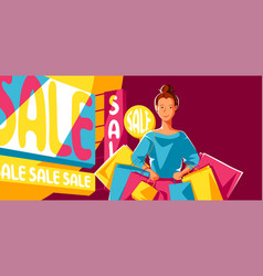cute girl with packages on sale vector image