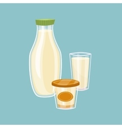 Dairy products isolated on blue background vector