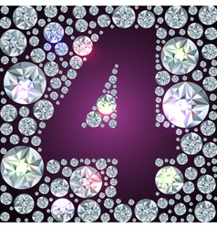 Diamond number four vector image vector image