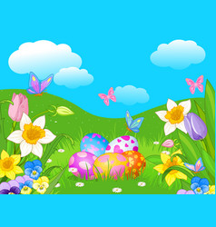 easter meadow vector image