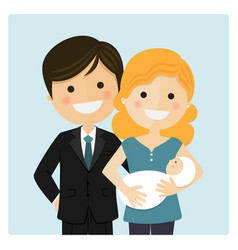 Family with a newborn baby on blue background vector