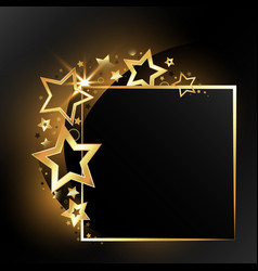 Festive gold frame with stars vector