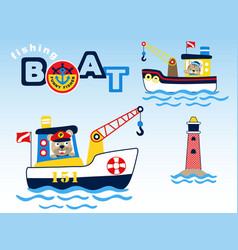 Fishing boats cartoon with cute fisher vector