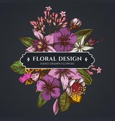 Floral bouquet dark design with laelia feijoa vector