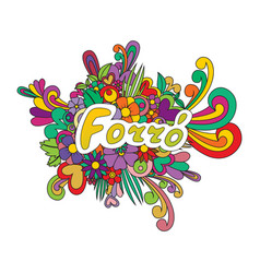 Forro zen tangle doodle flowers and text for the vector