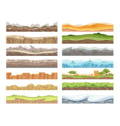 Game seamless ground cartoon rock dirt landscape vector
