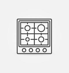 Gas stove line concept icon - top view vector
