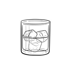 glass of water with ice cubes hand drawn icon vector image