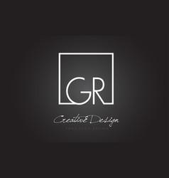 Gr square frame letter logo design with black vector