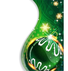 Green background with Christmas ball vector