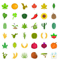 green plant icons set cartoon style vector image