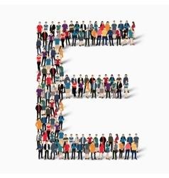 Group people shape letter E vector