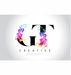 Gt vibrant creative leter logo design with vector
