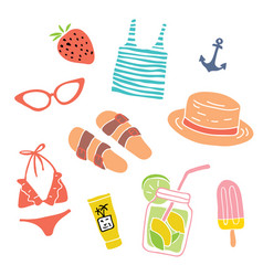 hand drawn summer objects isolated vector image