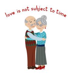 happy grandparents embrace vector image