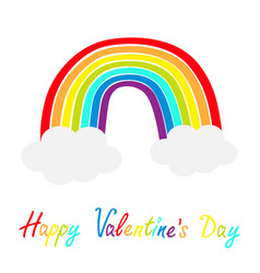 happy valentines day rainbow icon two clouds in vector image