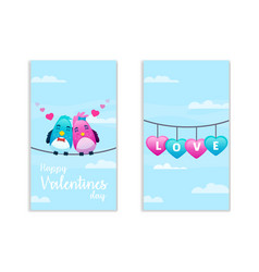 happy valentines day two sides vector image
