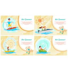 hot summer water sport color vector image