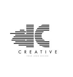ic i c zebra letter logo design with black and vector image