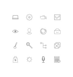 Interface simple linear icons set outlined icons vector