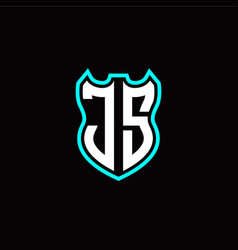 j s initial logo design with shield shape vector image