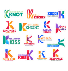 K letter corporate identity business icons vector