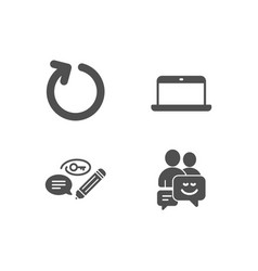 laptop keywords and loop icons communication vector image