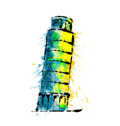 leaning tower of pisa made of colorful splashes vector image