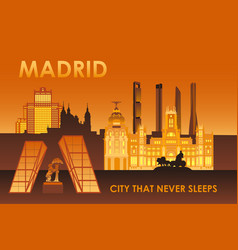 Madrid city that never sleeps vector