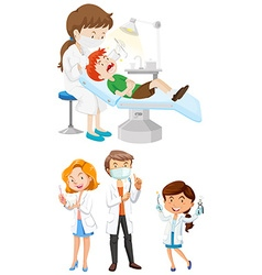 Male and female dentists with tools vector image
