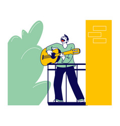 Male character stand on balcony playing guitar and vector
