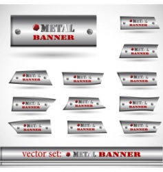 metallic banner set vector image