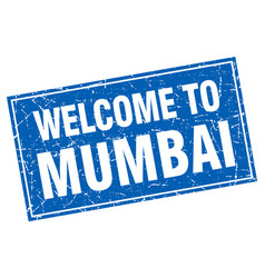 Mumbai blue square grunge welcome to stamp vector