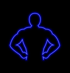 muscle man neon sign bright glowing symbol on a vector image